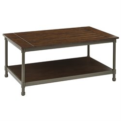 Office Star Ave Six Coffee Table in Pewter and Walnut