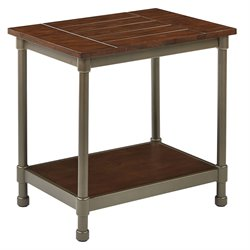 Office Star Ave Six Accent Table in Pewter and Walnut