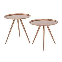 Office Star OSP Designs 2 Piece Nesting Table Set in Brushed Copper