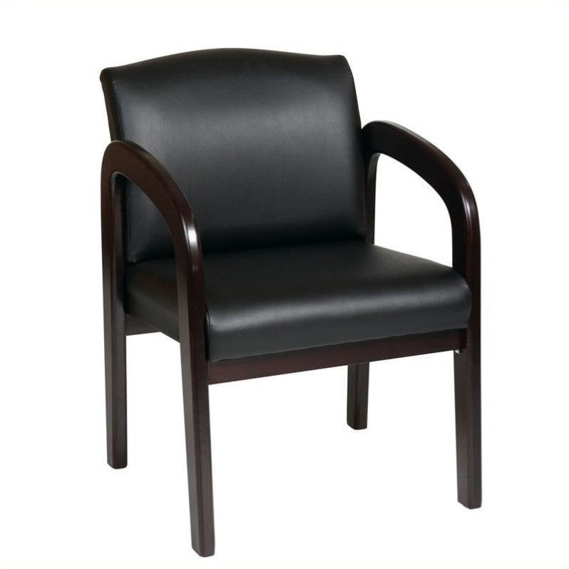 Faux Leather Wood Visitor Guest Chair in Espresso