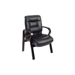 Deluxe Mid Back Leather Guest Chair in Black