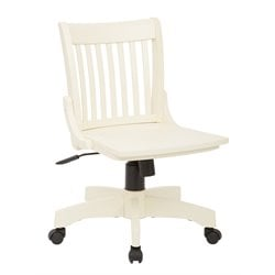 Armless Wood Banker's Office Chair in Antique White