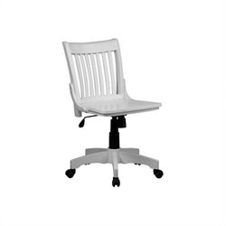 Armless Wood Bankers Office Chair with Wood Seat in White
