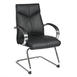 Mid Back Guest Leather Office Chair in Black