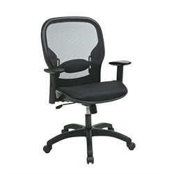 Screen Back Mesh Seat Chair in Black