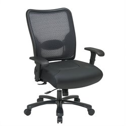 75 Big Man's Air Grid Back & Leather Seat Ergonomic Office Chair