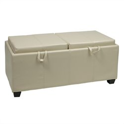 Storage Bench Ottoman with Trays in Cream