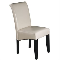 Dining Chair in Cream Bonded Leather