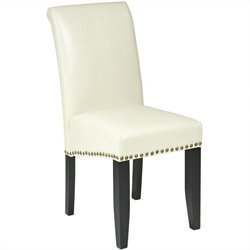 Office Star Metro Parsons Nail Head Dining Chair in Cream