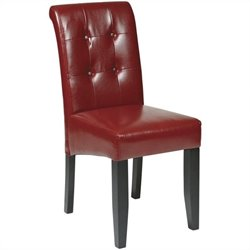 Button-Back Dining Chair in Crimson Red