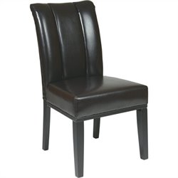 Office Star Metro Parsons Pleated Back Dining Chair in Espresso