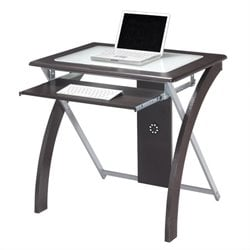 Computer Desk in Espresso w/ Silver Accents
