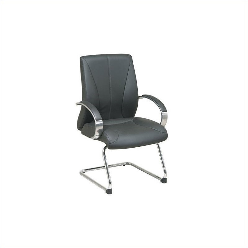 Deluxe Black Leather Visitors Office Chair
