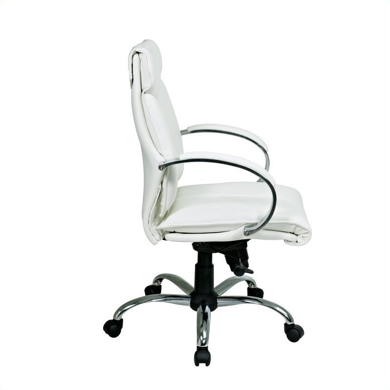 mid back white leather executive office chair 7271