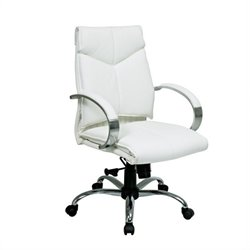 Mid Back White Leather Executive Office Chair