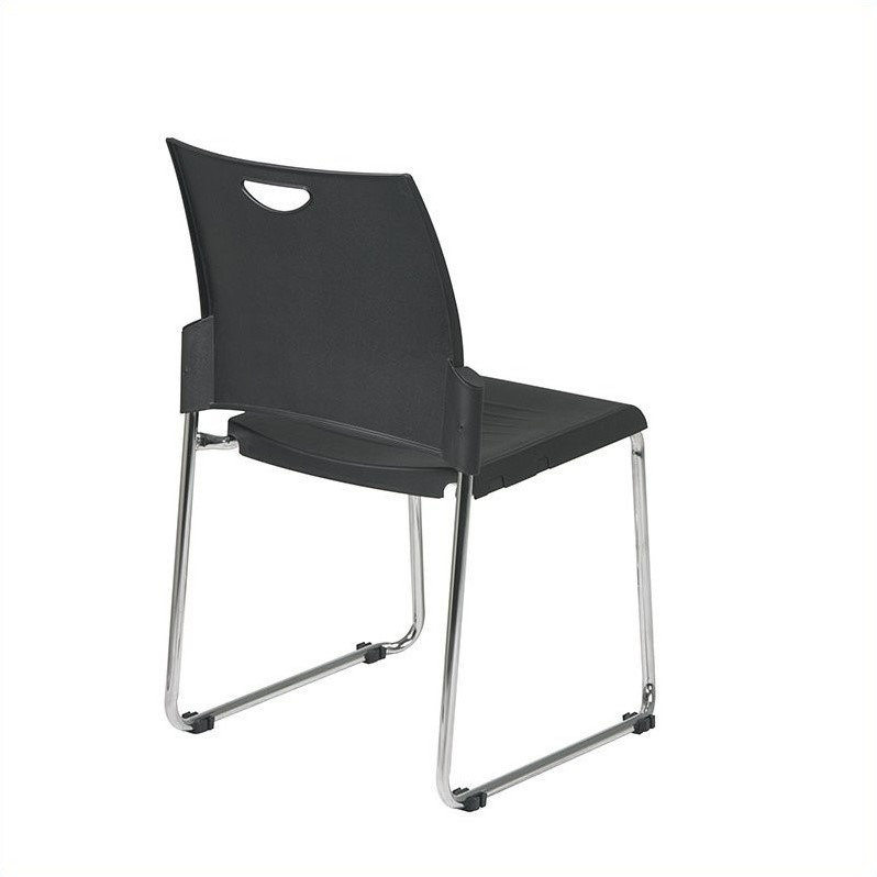 Stacking Chair in Black (Set of 2)
