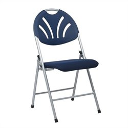 Set of 4 Plastic Folding Chair in Blue and Silver