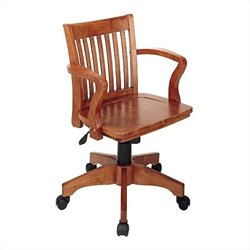 Wood Bankers Office Chair with Wood Seat in Fruit Wood