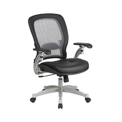 Air Grid Leather Office Chair in Black and Platinum