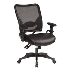 Leather Seat and Air Grid Back Managers Office Chair in Black