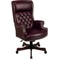 Traditional Vinyl Executive Office Chair in Mahogany