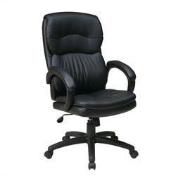 High Back Eco Leather Executive Office Chair w/ Arms in Black
