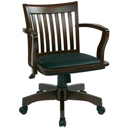 Wood Banker's Office Chair with Vinyl Padded Seat in Espresso