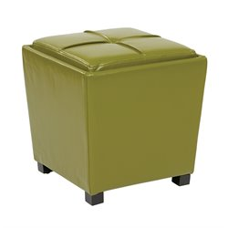 2 Piece Bonded Leather Ottoman Set in Green