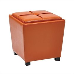 2 Piece Vinyl Ottoman Set in Orange