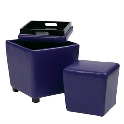 2 Piece Vinyl Ottoman Set in Purple