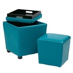 Office Star Metro 2 Piece Vinyl Ottoman Set in Blue