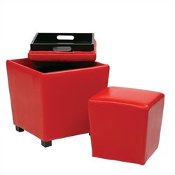 Office Star Metro 2 Piece Vinyl Ottoman Set in Red