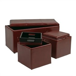 3 Piece Eco Leather Ottoman Set in Red
