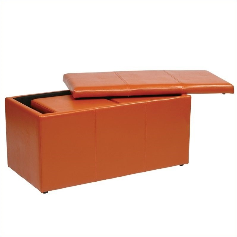 3 Piece Vinyl Ottoman Set in Orange