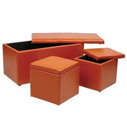 Office Star Metro 3 Piece Vinyl Ottoman Set in Orange