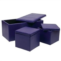 Office Star Metro 3 Piece Vinyl Ottoman Set in Purple