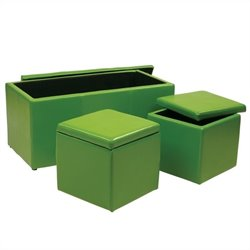 Office Star Metro 3 Piece Vinyl Ottoman Set in Green