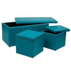 Office Star Metro 3 Piece Vinyl Ottoman Set in Blue