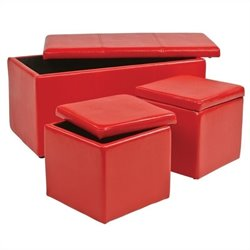 3 Piece Vinyl Ottoman Set in Red