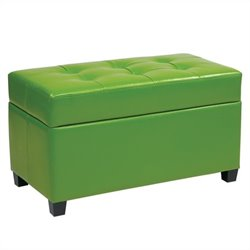 Office Star Metro Vinyl Storage Ottoman in Green