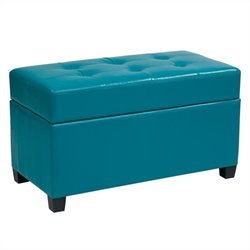 Office Star Metro Vinyl Storage Ottoman in Blue