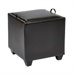 Storage Ottoman with Tray in Espresso