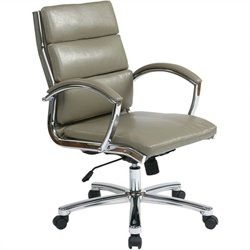Deluxe Mid-Back Faux Leather Executive Office Chair in Smoke