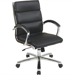 Deluxe Mid-Back Faux Leather Executive Office Chair in Black