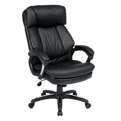 Oversized Faux Leather Executive Office Chair in Black