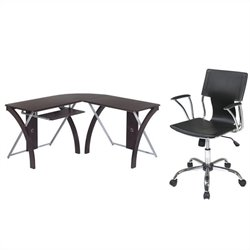 Office Star X-Text L Shaped Computer Desk and Dorado Vinyl Office Chair