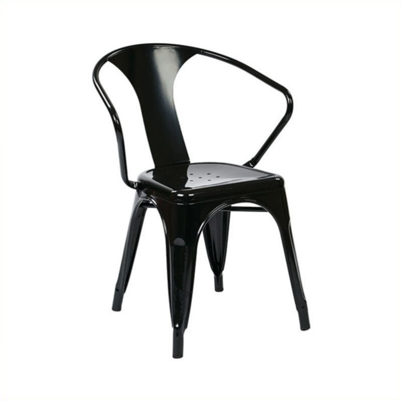 Metal Dining Chair in Black (Set of 2)