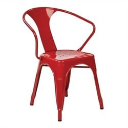 Metal Dining Chair in Red (Set of 2)