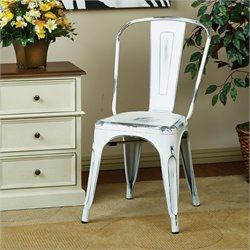 Metal Dining Chair in Antique White (Set of 2)