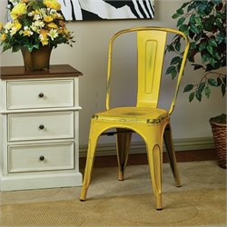 Metal Dining Chair in Antique Yellow (Set of 2)
